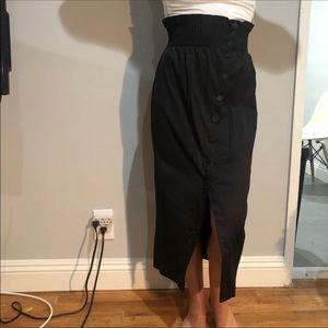 H&M paper bag button down midi skirt small 4
